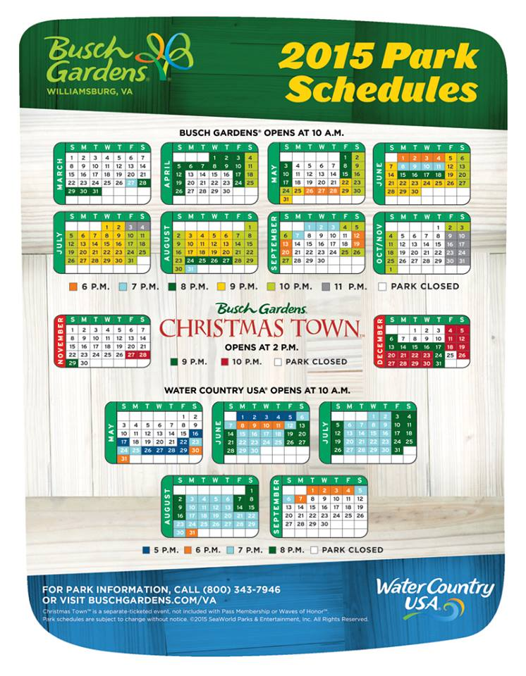 2015 Busch Gardens Williamsburg Schedule Attraction Chasers: busch gardens crowd calendar
